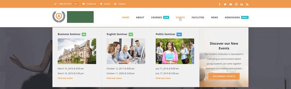 website navigation with mega menu