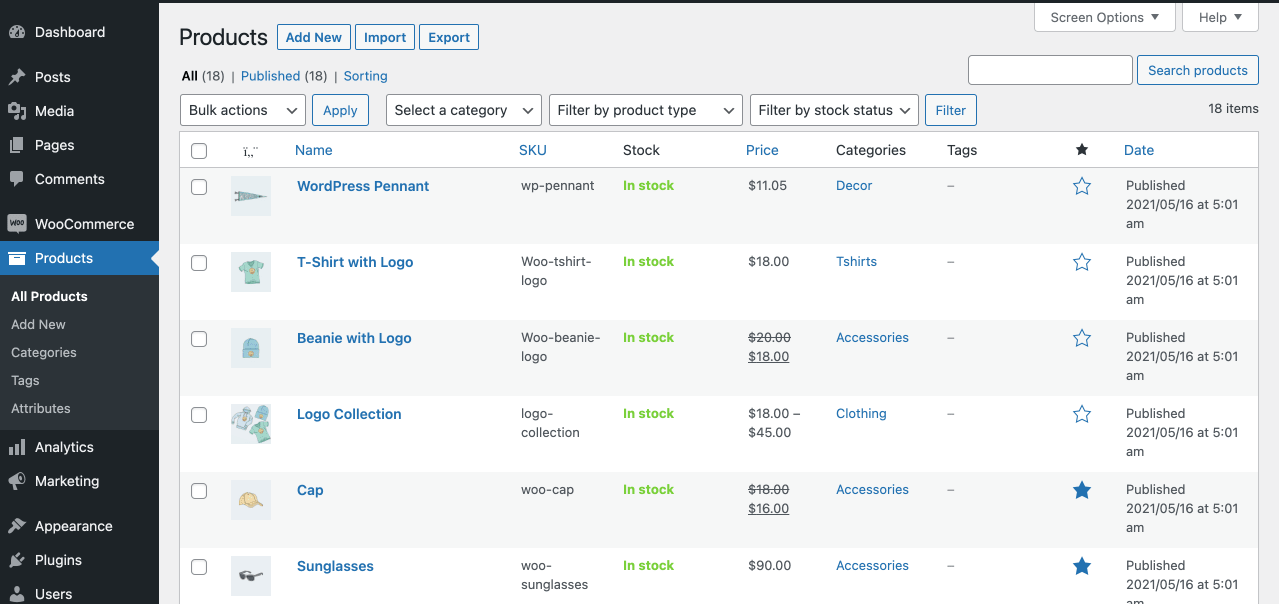 Products listing in WooCommerce